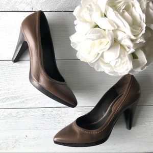 Zara • Brown leather heels / pumps